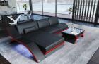 Leather Sectional Sofa Malibu L shape black-red