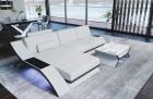 Leather Sectional Sofa Malibu L shape white-black