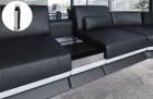 Multi use Smart Space Console in chrome with integrated power sockets and USB ports