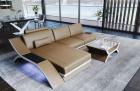 Leather Sectional Sofa Malibu L shape sandbeige-white