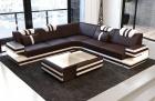 Modern Leather Sofa San Antonio with LED dark brown-white