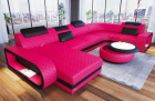 Leather sofa U shape Chesterfield Ottoman Charlotte LED in pink - black leather