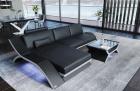 Leather Sectional Sofa Malibu L shape black-white