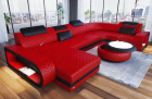 Luxury sectional sofa Chesterfield Optik Charlotte U Form in red - black Leather