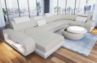 Leather sectional sofa Chesterfield Charlotte U shape in beige - white leather
