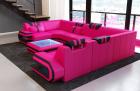 Leather Sectional Sofa San Antonio U Shape in pink-black