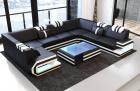 Modern Leather Sofa San Antonio With LED Lights black-white