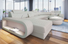 Leather sectional sofa Chesterfield Charlotte U shape in beige leather