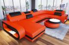Leather sofa U shape Chesterfield Ottoman Charlotte LED in orange - black leather