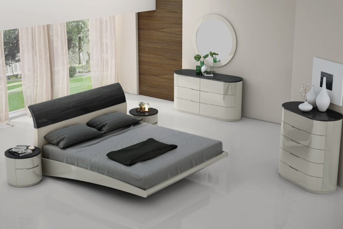 Modern Design Bedroom Venice in black-grey