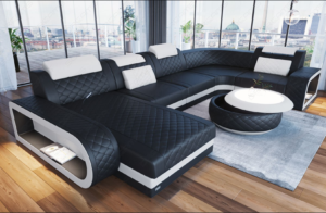 The Los Angeles Fabric and Leather Sectional Sofa